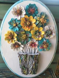This fancy design includes pinecone flowers which are hand cut, carefully shaped and painted to resemble an authentic flower. On the wooden background, there are 12 pinecone flowers of various sizes. -Impregnation applied on the design against decay Pine Cone Art, Pine Cone Crafts, Pine Cones, Diy Painting, Painting On Wood, Wood Crafts, Diy And Crafts, Primitive Crafts, Primitive Christmas