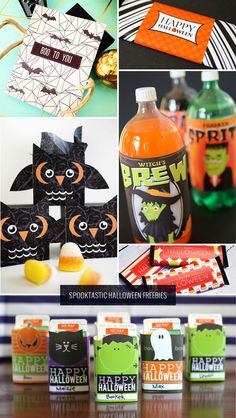 A roundup of 6 spooktastic Halloween free printables, including spooky owl treat boxes, bottle labels, and candy bar wrappers.