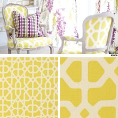 Tissu d'ameublement Portico - Nos tissus d'ameublement chez Jeux-de-lin - Tissus motifs graphiques - Tissus à motifs - DaWanda Furniture Projects, Decoration, Upcycle, Projects To Try, Sweet Home, Yellow, Interior, Pattern, Diy