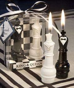 King and Queen Chess Piece Candle Wedding Favors