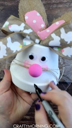 Flower Pot Bunny Craft- cute and easy easter craft for kids to make! Cute art project to make an easter bunny. Flower Pot Bunny Craft- cute and easy easter craft for kids to make! Cute art project to make an easter bunny. Easy Easter Crafts, Bunny Crafts, Crafts For Kids To Make, Easter Crafts For Kids, Flower Crafts, Diy And Crafts, Diy Flower, Rabbit Crafts, Flower Paper