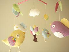 """Bébé berceau mobile, mobile oiseau, feutre mobile, pépinière mobile, mobile bébé, """"Bird - migi peu d'arbre 3"""""""