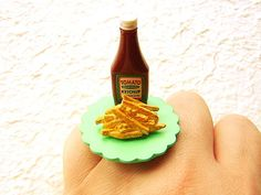 French Fries Ring Cute Food  Ring Miniature by SouZouCreations, $12.50