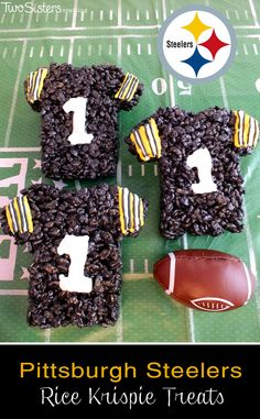 These Pittsburgh Steelers Rice Krispie Treats Team Jerseys are a fun dessert for a game day football party, an NFL playoff party, a Super Bowl party food or as an special snack for the Pittsburgh Steeler's fans in your life. For more fun Rice Krispie Tr Rice Crispy Treats, Krispie Treats, Rice Krispies, Super Bowl, Pittsburgh Steelers, Steelers Football, Steelers Stuff, Alabama Football, College Football