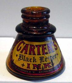Carter's Black Letter Ink Bottle, hard to find antique and collectable! Antique Bottles, Vintage Bottles, Bottles And Jars, Glass Bottles, Perfume Bottles, Vintage Dishes, Calligraphy Pens, Dip Pen, Fountain Pen Ink