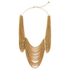 """Brielle Necklace, by Harriet Grey.  Was $59 now $48.  28 thin gold chains drape in three sections to form the Brielle necklace. This statement piece works from the boardroom to the country club dining room.   - Gold base metal  - 9"""" long at lowest drape  - 16"""" long chain, with 1.5"""" extender  - Lobster clasp"""
