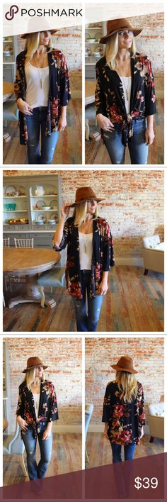 """Black floral open or tie front cardigan Modeling size small.  97% polyester 3% spandex.  Bust laying flat: S 21"""" M 22"""" L 23"""" Length S 32"""" M 33"""" L 34"""". Add to bundle to save when purchasing. LC10951006.Lt2976 Sweaters Cardigans"""