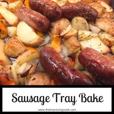 Sausage Tray Bake- easy dinner recipe, very quick to make for weeknight dinners. Sausages, parsnips, peppers and potatoes roasted with rosemary and thyme. Great for kids. #sausages #sheetpan #traybake #quickdinner #easyrecipe #dinnerrecipe #familymeal