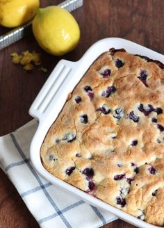 Blueberry Breakfast Cake ~ Lemon zest enhances this dense and filling blueberry breakfast cake! I made this int muffins for the boys sleepover.