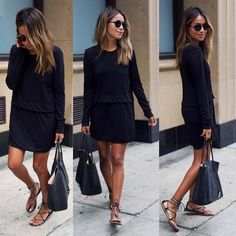 Scoop Long Sleeves Loose Pure Color Straight Short Dress