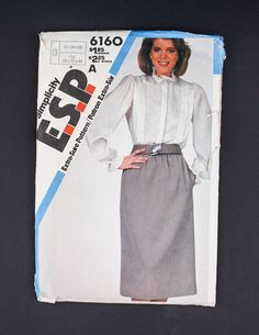 80s Womens Sewing Pattern in my #etsy shop https://www.etsy.com/ca/listing/567636398/80s-simplicity-sewing-pattern-6160-1983