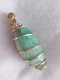 Apatite | Spiral Wire Wrapped Pendant | Jewelry #wirejewelry