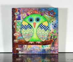 Whimsical owl art cute owl art art for kids by ArtByAlisaSteady, $87.00