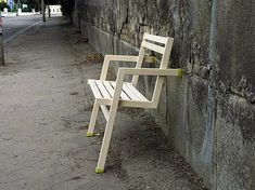 An Lena is an attempt to challenge a basic principle of chair design, utilizing a wall and rubber friction grips to provide another form of support augmented by weight and gravity of someone sitting.someone sitting.