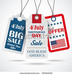 3 price stickers 4th july on the gray background.Eps 10 vector file.
