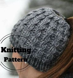 Knitting Pattern for Faux Cable Messy Bun Hat - Easy ponytail beanie is a quick knit in bulky yarn.