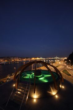 Open-air bath on the roof at the Rudas Thermal Spa in Budapest - 2015