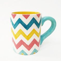 ☕️ You know what? You totally deserve a steaming hot mug of chocolate today. Make yours today in this vibrant hand-painted chevron mug!  #☕️ #mug #handmade #ceramics #chevron #design #handpainted #giftideas #christmasgifts #glaze #homedecor #kitchen #tea #hotchocolate #hotcocoa