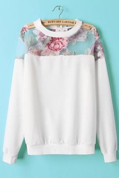 Show a little shoulder with a sheer floral print shoulder sweatshirt. #streetstyle