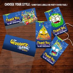 Grossery Gang Birthday Favor Tags, Grossery Gang Party Tags, Grossery Gang Thank You Tags, Gross Gang Yucky Mart Party, Shopkins Gone Rotten ► MATCHING BIRTHDAY INVITATION ALSO AVAILABLE: https://www.etsy.com/listing/582530482/grossery-gang-birthday-invitation THIS IS A DIGITAL