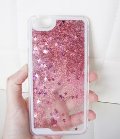 iPhone 6 Plus case - clear glitter liquid with hipster pink and purple aurora borealis stars and glitter iridescent geometric star sequins floating in a waterfall quicksand liquid trendy phone case. US seller.