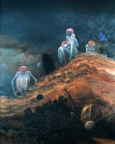 Zdzislaw Beksinski, 1973, oil on hardboard