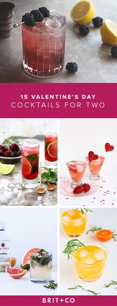 15 Valentine's Day Cocktails for Two Bookmark this to make 15 different cocktails for two on Valentine's Day. – Cocktails and Pretty Drinks Cocktails For Two, Valentine's Day Drinks, Yummy Drinks, Cocktail Recipes, Drink Recipes, Shot Recipes, Vegan Recipes, Dessert Recipes, Valentine Drinks