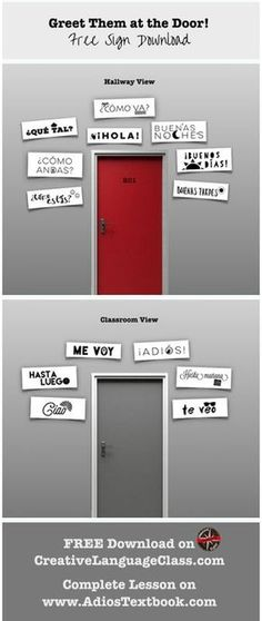 Free greetings Spanish signs to decorate the classroom and get them talking!