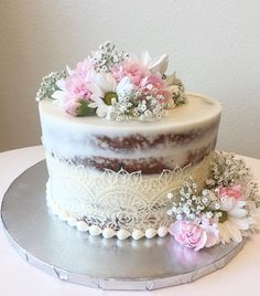Naked Cake with Cake Lace and Pretty Pink Flowers - Pink Birthday Cake Ideen Pretty Cakes, Beautiful Cakes, Amazing Cakes, Wedding Cake Designs, Wedding Cakes, Bolos Naked Cake, Nake Cake, 80 Birthday Cake, Engagement Cakes