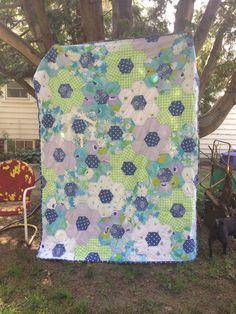 67x88 floral Hexagon QUILT by AshleyEnzoBernard on Etsy, $200.00