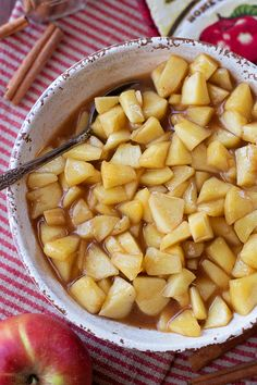 These sweet, tender stovetop cinnamon apples are the perfect side dish! They go great with chicken, turkey or pork!
