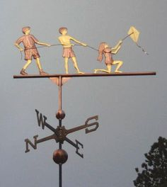 Children Flying Kite Weathervane by West Coast Weather Vanes. This copper children flying a kite handcrafted Weather Vane has Brass and Gold accents. Blowin' In The Wind, Wind Of Change, Go Fly A Kite, Kite Flying, Delft, Lightning Rod, Wind Direction, Weather Vanes, Water Tower