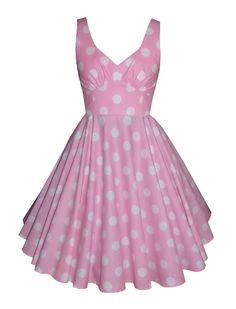 Full circle 'Lily' in large white polka dots on pink. 1950s vintage style dress.