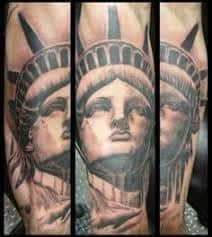 What does statue of liberty tattoo mean? We have statue of liberty tattoo ideas, designs, symbolism and we explain the meaning behind the tattoo. Leg Tattoos, I Tattoo, Statue Of Liberty Tattoo, Tattoo Designs, Tattoo Ideas, Picture Tattoos, Ink, Flags, Space