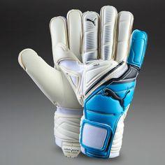 Puma Goalkeeper Gloves - Puma King (Regular Cut) - Goalie Gloves - Goalkeeping - White-Fluo Blue