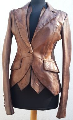 ANTONIO MARRAS veste cuir vieilli S tan leather jacket used look leder blazer