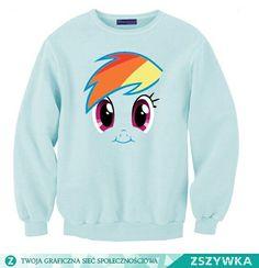 •Sweet ladies sweatshirt with printed PONY RAINBOW•