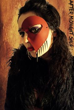 Any color half face leather mask drak red by AfterMidnightShop, €25.00 half face leather mask drak red black spike pendants unisex cosplay comic costume masquerade sexy gothic goth steampunk fetish
