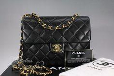 CHANEL Black Lambskin Mini Classic Flap Bag Gold Hw