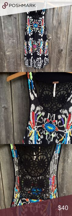 Free People rainbow crochet festival tunic tank! The most stellar little dress or tunic tank! This rare piece can be styled as either and sure to turn heads. A beautiful crochet rainbow knit with a fun racerback design. Still has plastic from tag. Bought from Urban Outfitters, but it's too small for me. New without tag! Free People Tops Tank Tops
