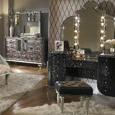 DIY silver leaf vanity made from an old thrift store desk! Love ...