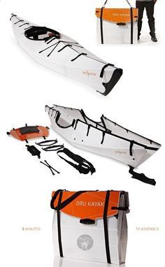 The Oru Kayak - Origami kayak folds flat for your backpack. So cool!