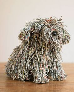 recycled book art - (what a cute dog!)