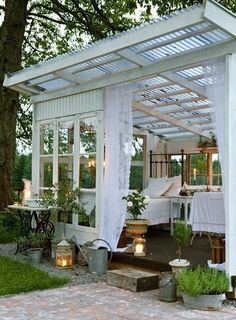 Love it, but as a catio, screened walls, windows and door with clear or translucent panels above.  Built next to the house