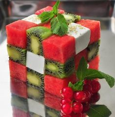 Watermelon, Kiwi and Feta, or switch out any melon or cheese. Cool presentation!