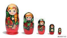 """Téléchargez la photo libre de droits """"Red russian nesting dolls in line"""" créée par ProMotion au meilleur prix sur Fotolia.com. Parcourez notre banque d'images en ligne et trouvez l'image parfaite pour vos projets marketing !"""