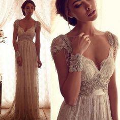 Cheap robe de mariage, Buy Quality backless lace wedding dress directly from China bridal gown Suppliers: Beach 2016 Luxury Bohemian Style Sexy Backless Lace Wedding Dresses Crystal Beaded Boho Bridal Gowns Robe De Mariage