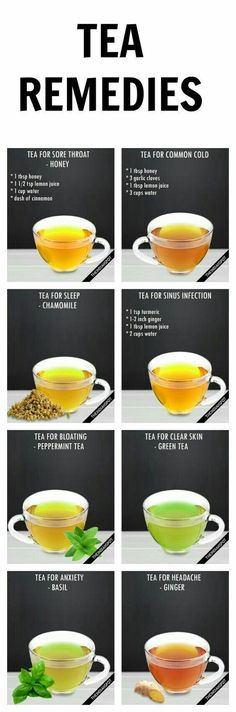 Awesome natural home remedies that you could use with a single cup of tea. Explore a world of flavor while doing good things for your health. Check out these natural remedies for sore throat, sinus infection, headache, cold, bloating, clear skin, anxiety,