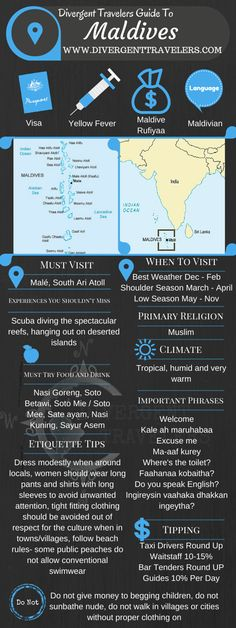 Divergent Travelers Travel Guide, With Tips And Hints To The Maldives. This is your ultimate travel cheat sheet to the Maldives. Click to see our full Maldives Travel Guide from the Divergent Travelers Adventure Travel Blog and also read about all of the different adventures you can have in The Maldives at http://www.divergenttravelers.com/destinations/maldives/