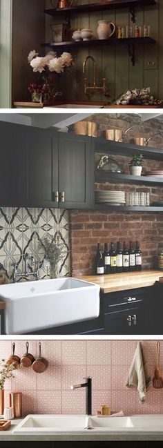 Wood, colorful tiling or a brick wall.. #kitchen #wood #tiling #brick #wall